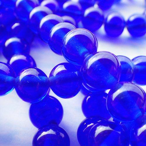 青いガラスビーズ 日本製(10個)