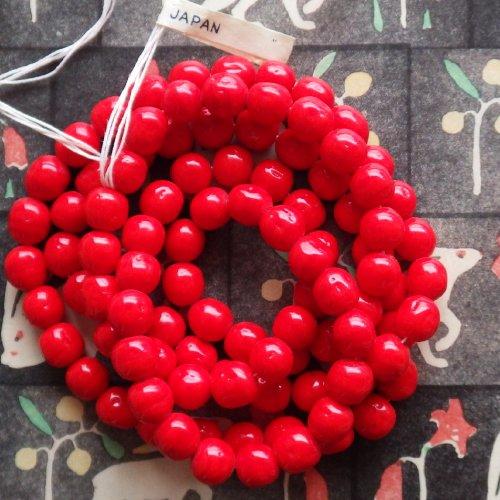 赤いガラスビーズ 日本製(10個)
