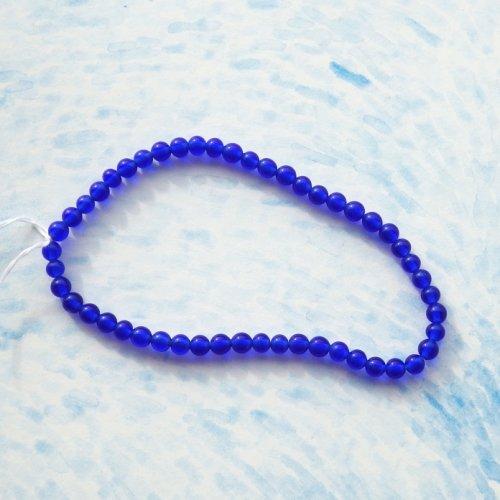 小さな青いガラスビーズ(50個)
