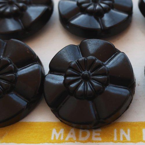 ヴィンテージボタン 黒のお花