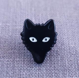ボタン オオカミ(ブラック)