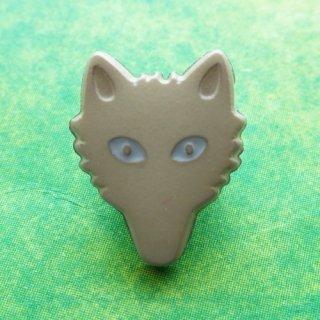 ボタン オオカミ(グレー)