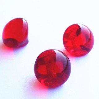 ヴィンテージガラスボタン 赤(透明)