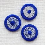 チェコの糸ボタン16mm 青/シルバーグレー
