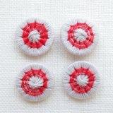 チェコの糸ボタン14mm  グレージュ/赤