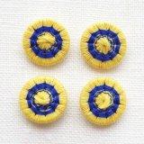 チェコの糸ボタン14mm  黄色/青