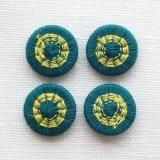 チェコの糸ボタン14mm フォレストグリーン/黄色