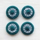 チェコの糸ボタン14mm フォレストグリーン/オフホワイト