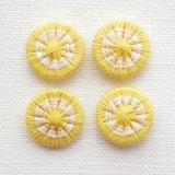 チェコの糸ボタン14mm 黄色/オフホワイト