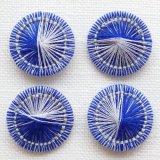 チェコの糸ボタン 青とパールグレー