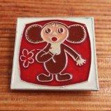 旧ソ連ヴィンテージバッジ チェブラーシカ(赤いお花)