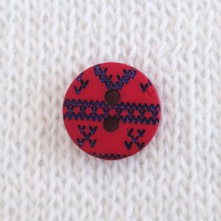 ボタン 編み目(赤)