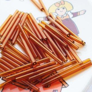 【50本】 チューブビーズ 30mm ブラウン チェコ製