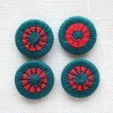 チェコの糸ボタン14mm フォレストグリーン/赤