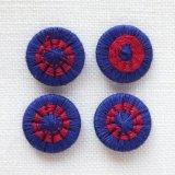 チェコの糸ボタン14mm 濃紺/深紅