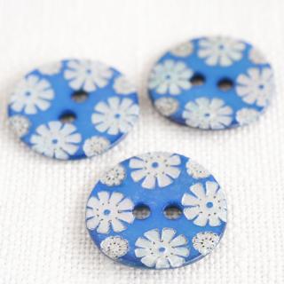 カラー貝ボタン 花 ブルー