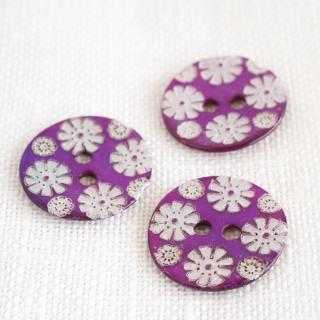 カラー貝ボタン 花 パープル