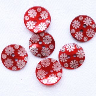 カラー貝ボタン 花 赤