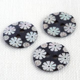 カラー貝ボタン 花 黒