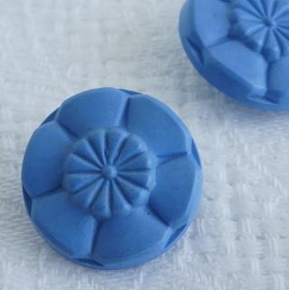 ヴィンテージボタン 花ブルー18mm