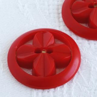ヴィンテージボタン お花プロペラ27mm赤