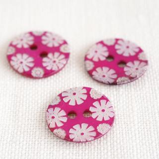 カラー貝ボタン 花 フューシャ