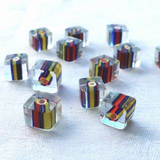 【8個】ガラスのキューブビーズ 赤・ブルー・黄色 チェコ製