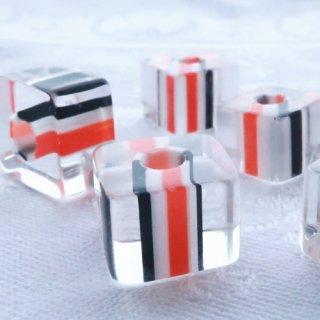 【8個】ガラスのキューブビーズ オレンジ・黒・白 チェコ製