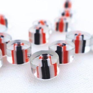 【20個】クリアガラス ディスクビーズ(M)オレンジ・白・黒 チェコ製