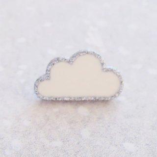 ボタン 雲(白×シルバー)