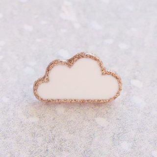 ボタン 雲(白×ゴールド)