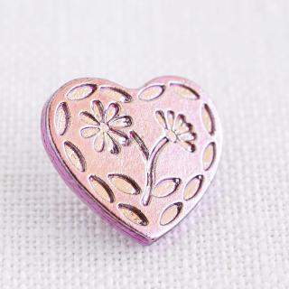 ボタン ハートのお花 ピンク(プラスチック)