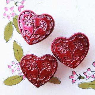 ボタン ハートのお花 フューシャピンク(プラスチック)