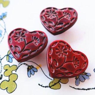 ボタン ハートのお花 レッド(プラスチック)