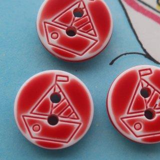 ボタン ヨット12mm 赤×白