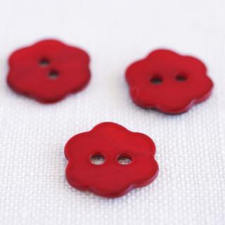 お花の貝ボタン 赤