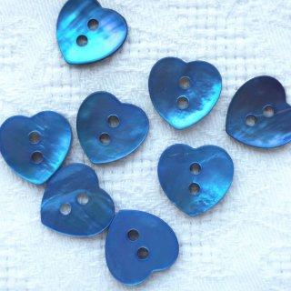 ハートの貝ボタン ブルー