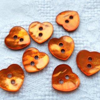 ハートの貝ボタン オレンジ