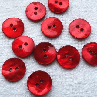貝ボタン15mm 赤
