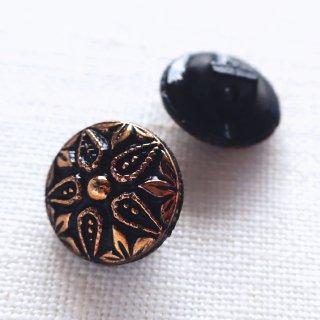 ヴィンテージガラスボタン 黒い花