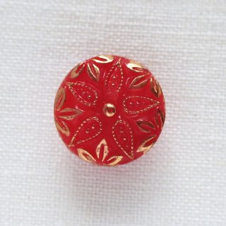 ヴィンテージガラスボタン 赤い花