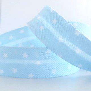 星柄バイアステープ 両折20mm 水色