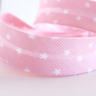 星柄バイアステープ 両折20mm ピンク