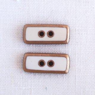 ボタン 長方形 白×ゴールド