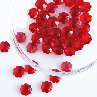 ヴィンテージ 赤いお花のパーツ(10個)