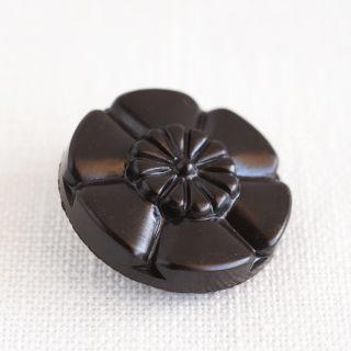 ヴィンテージボタン 花ブラック 23mm