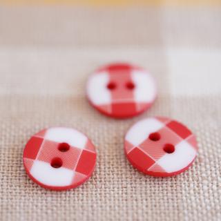 赤いチェックのボタン フランス製