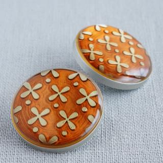 ボタン お花ルーペ 22mm(オレンジ)