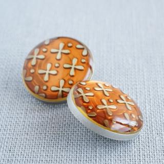 ボタン お花ルーペ15mm(オレンジ)