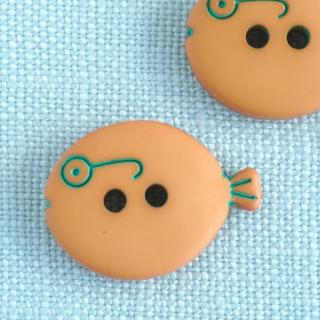 メガネの魚のボタン 18mm オレンジ フランス製
